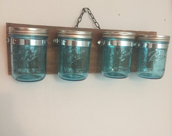 4 Teal Mason Jar Holder