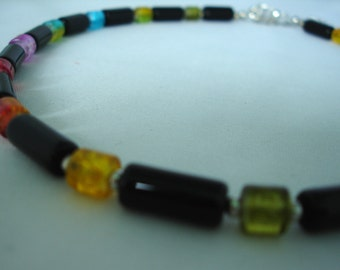 Multicolored - Black Necklace, Cylinder glass crash beads, Colourful, Rainbow Jewelry