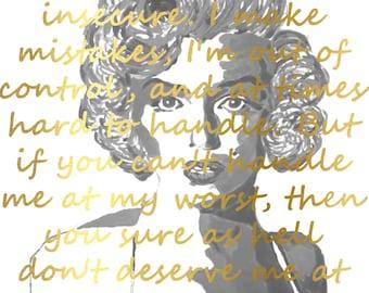Gold Marilyn Monroe Art, Marilyn Monroe Print, Marilyn, Marilyn Monroe Decor, Inspirational Art Print, Marilyn Monroe Quote