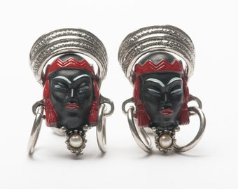 Vintage Selro Blackamoor Asian Princess Face CUFF LINKS