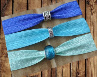Beaded Hair Ties/Elastics No Crease 3 Pack Blue, Turquoise, and Mint