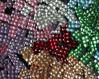 10 glitter square rectangle diamond rhinestones