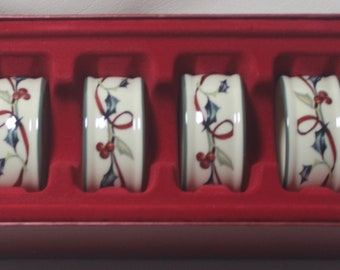 Lenox Winter Greetings Set of 4 Napkin Rings, New in box, 2 sets available