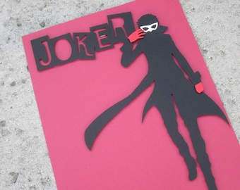 "Persona 5 ""Joker"" inspired 8.5 x 11 inch 3D Cut Out Silhouette print / poster art"