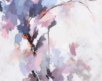 Peinture abstraite à l'acrylique, fleurs abstraites mauves et roses, Tableau contemporain abstrait unique, oeuvre d'art originale