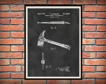 1940 Fireman's Axe Patent Print - Fire Axe Poster - Fire House Decor - Fire Equipment - Firefighter Art Gift Idea - Fireman Axe Print