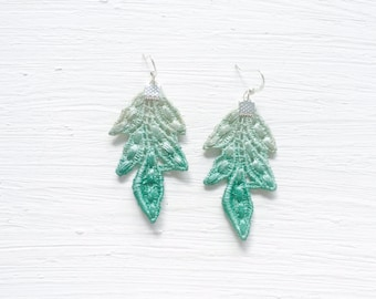 Green Ombre Lace Statement Earrings