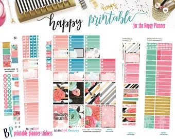 Happy Thoughts | Weekly Printable Planner Kit | Planner Stickers | Cut Line Files | for use with Happy Planner | Planner Stickers Printables