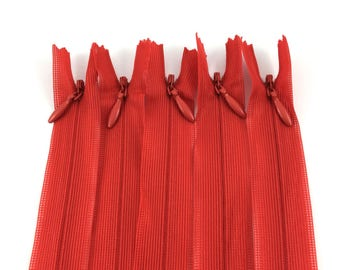 Set of 5 invisible zippers 20 cm red not separable