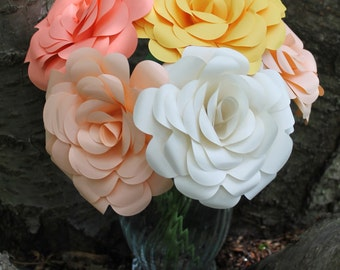 Six (6) Paper Roses in Any Colour(s) - Graduation, Birthday, Mother's Day, Anniversary, Get Well Soon, Congratulations, Wedding, Valentines