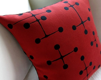 "Eames Mid Century Modern Pillow Cover - Maharam - Red Large Dot Pattern - 17"" x 17"" shown for 18"" insert"