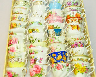 60 Mismatched Vintage Tea Cups and Saucers for Tea Party, Wedding, Baby Shower, Bridal Shower, Teacups and Sacuers