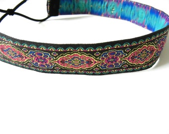 Black, Gold, Blue, and Pink Tapestry Headband