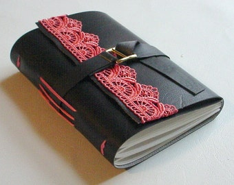 Great Holiday Gift For Her - Faux Leather Journal/Notebook - Black and Coral