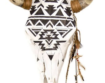 "Black & White Geometric  ""GANADO"" COW SKULL"