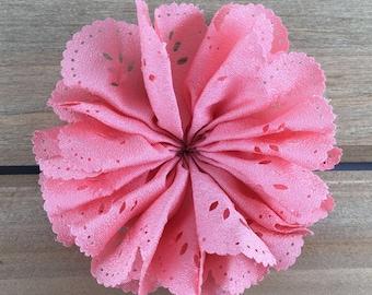 3 inch Pink Eyelet Flower, Pink Eyelet hair flower, Eyelet lace flower, DIY headband supplies, DIY hair bow flower, hair flower