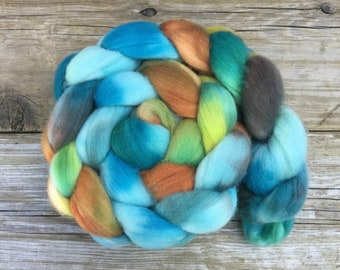SW Merino Nylon Roving Hand Dyed for Spinning HAWAIIAN PUNCH turquoise copper rust chartreuse green teal soft great for hand spun sock yarn