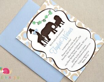 Animal Safari Baby Shower Invitations · A6 FLAT · Light Blue and Khaki Leopard Print · Baby Sprinkle | Birthday Party | Jungle Animals