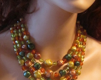 Vintage Four Strand Bead Necklace in Fall Colors