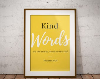 Perfect Yellow Wall Decor, Inspirational Quotes, Christian Wall Art, Bible Wall  Art, Proverbs 16, Kind Words Are Like Honey, Proverbs Wall Decor