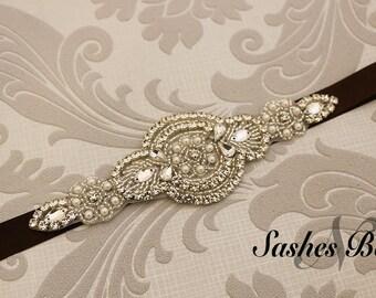 Brown  Belt, wedding belt, bridesmaid belt, flower girl belt, bridesmaid sash, wedding sash, crystal and pearl belt, dress belt