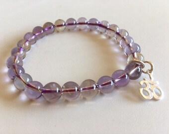 Ametrine Energy Bracelet-Gemstone Bracelet With Ohm Charm
