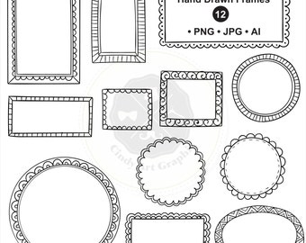 Hand Drawn Frames Clipart,frame clipart,doodle borders clipart,digital borders,digital download