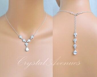 Backdrop Bridal Necklace, Simple Crystal Wedding Necklace, Gold Bridal Earrings, Back drop, Bridesmaid Jewelry SET, Melonie Y Necklace