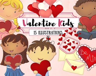 Valentine's Day Kids Clip Art - Valentine Illustrations - Hearts and Balloons Clipart - Cute Kid Valentine Clipart - Kawaii Kids