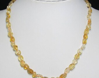 Citrine Freeform and 925 Silver 18 1/2 inch Necklace