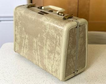 Small Vintage Cream Marble Samsonite Suitcase, Vintage Suitcase, Vintage Travel, Travel Decor, Stackable Storage, Vintage Luggage