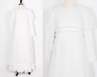 vintage wedding dress/ empire waist/ long sleeve wedding dress/ boho wedding/ chiffon wedding dress/ wedding dress with train/ puff sleeve
