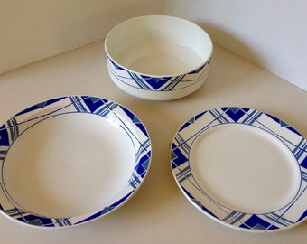 Plates and salad bowl St Amand / 1940's / French collection Dinnerware