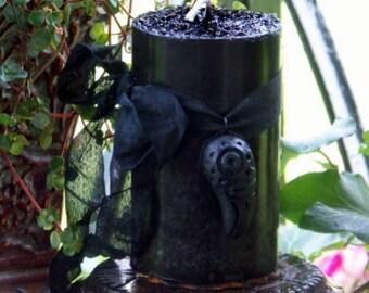 "RAVEN SPIRIT ""Old European Witchcraft""™ ""Celtic-Nordic Lights""™ Black Pillar Candle"