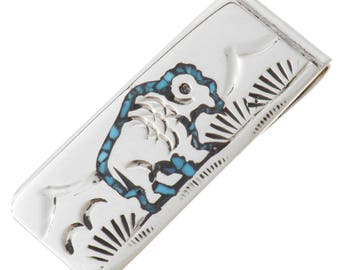 Navajo Turquoise Silver Buffalo Money Clip Inlaid Southwest Pattern