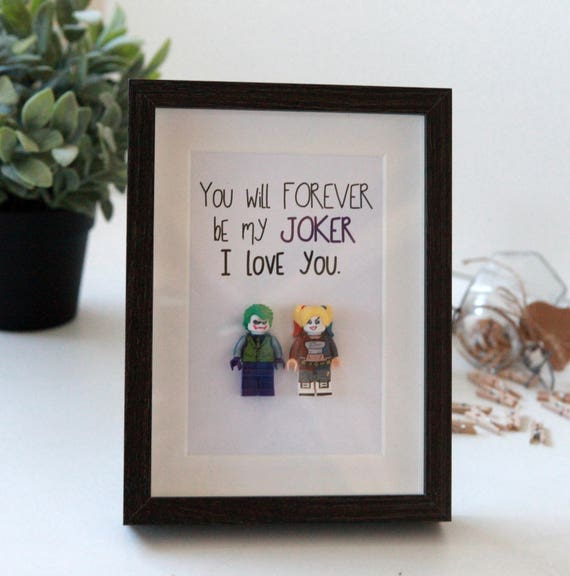 Personalised Harley Quinn and Joker Gifts / lego frame /