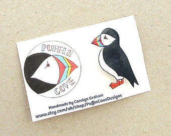 Puffin Brooch, Puffin Badge, Birds, Pin, Gift for Her, For Mum, Jewellery, Mother's Day