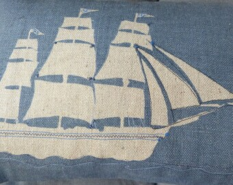 hand printed nautical tall ships cushion cover