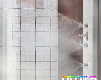 Privacy Stain Glass Window Film Vinyl | Decorative Contact Paper Etch Glass Decal | Frosted Squares Adhesive Window Cling | VViViD