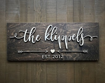 Last Name Sign / Custom Wood Sign / Established Sign / Home Sign /  Personalized Wedding gift / Wedding Sign / 3D Sign / Family Name Sign