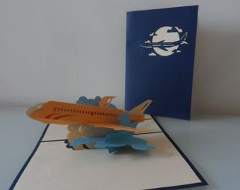 Jet Aircraft Plane Pop up Card Bon Voyage-Birthday-Holidays-Retirement-Blank (sku167)