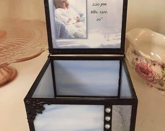 stained glass memory baptism keepsake box
