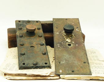 2 Salvaged Vintage Escutcheons Door knob Plates Repurpose Steampunk Assemblage Craft Supply