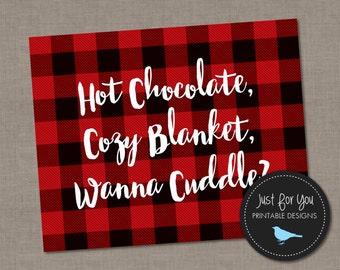 Rustic Christmas Printable Wall Art - Hot Chocolate Cozy Blanket Cuddle - Holiday Decor Red Buffalo Plaid - YOU PRINT - 16x20 (8x10) Print