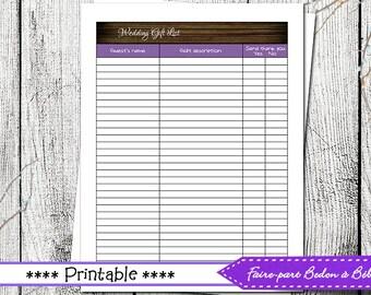 Wedding Gift list - wedding printable - wedding - gift list - printable list - digital printable