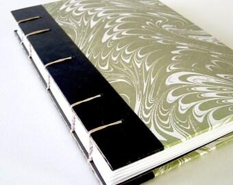 Vintage Book Journal / Sketchbook - Marbled in Pale Olive