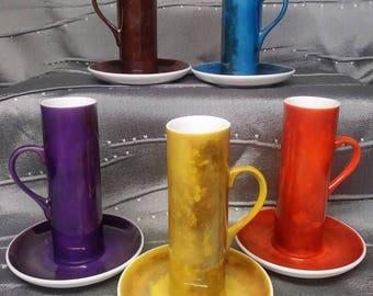 LaGardo Tackett Espresso Demitasse Cups Multi Color Schmid Japan Lot of 5 Mid Century Modern