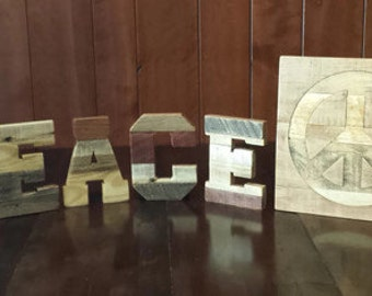 """pallet word PEACE, 7"""" pallet letters, Peace, wood letters, Inlaid peace sign, reclaimed pallet wood, rustic home decor, 12"""" peace sign"""