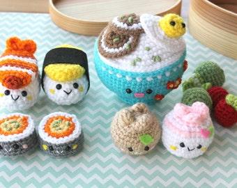 Crochet Pattern Amigurumi Food Bento Family Crochet Pattern/ Sushi Set