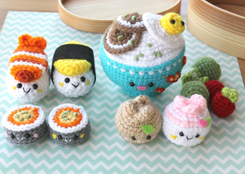 Crochet Pattern Amigurumi Food Bento Family Crochet Pattern/